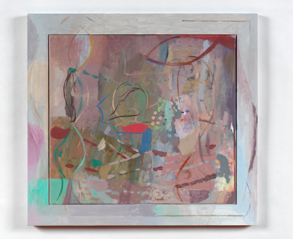 his rotation, 2011  signed and dated  oil on linen and painted frame  63.3 x 68.5 x 3.0 cm 24 7/8 x 26 15/16 x 1 1/8 in.