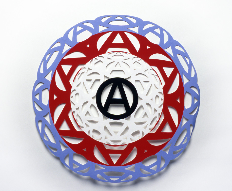 Anarchy Target III, 1999  blue, red, white and black paper  diameter: 20 in / 51 cm
