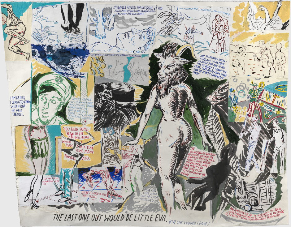 No Title (However trivial the), 2012  pen, ink, acrylic, gouache, coloured pencil and collage on paper  107.3 x 134.6 cm 42 1/4 x 53 in.
