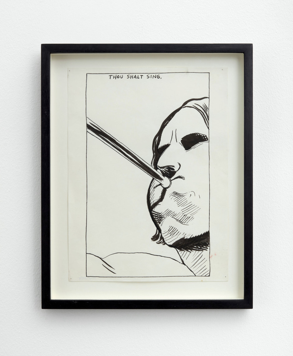 No Title (Thou shalt sing), 1986  pen and ink on paper  site size: 30.4 x 22.8 cm / 12 x 9 in frame size: 37 x 29.6 x 2.5 cm / 14 ⅝ x 11 ⅝ x 1 in