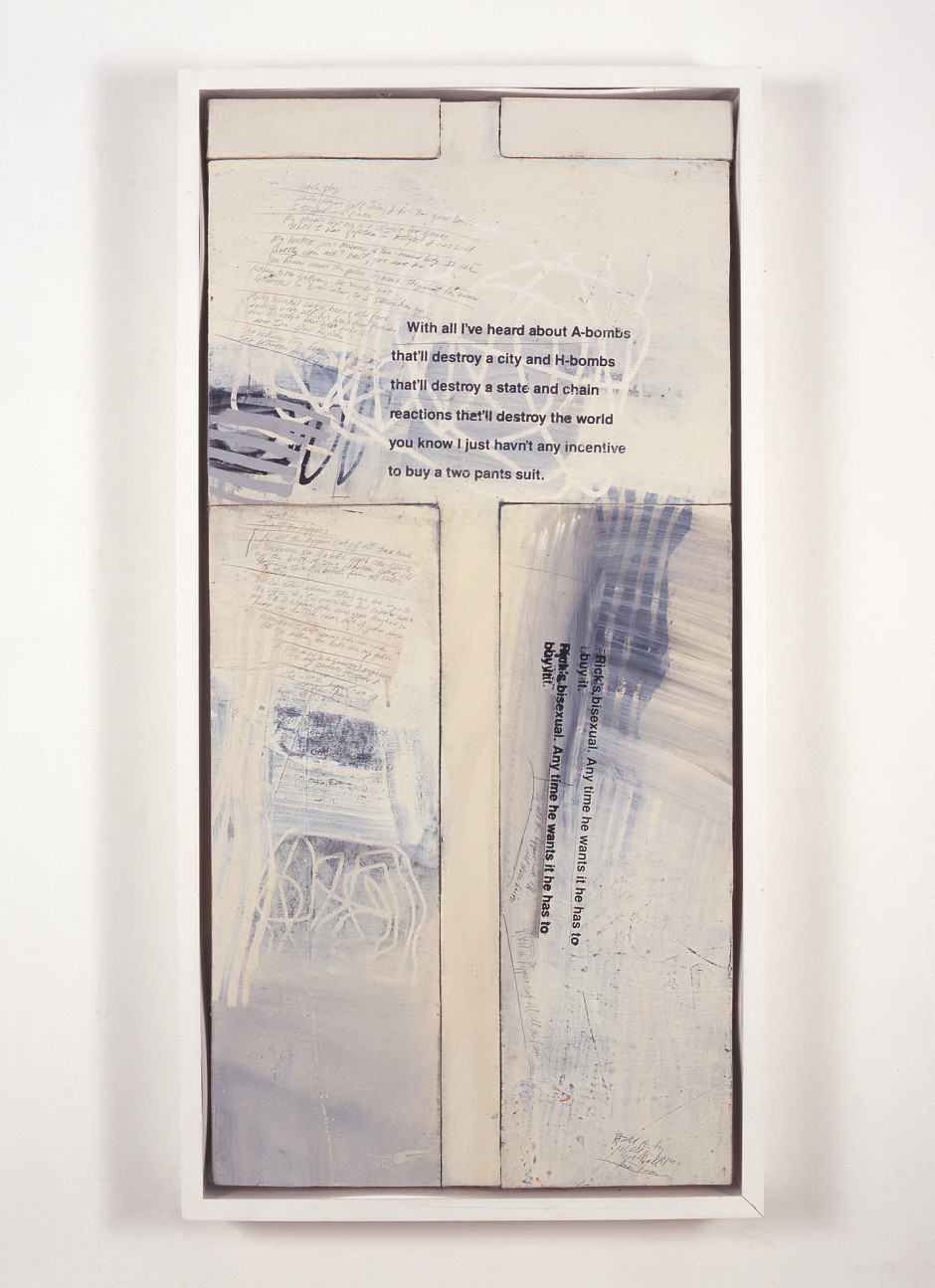 Untitled [Protest Painting], 1992  oil on canvas  102.87 x 52.07 cm 40 1/2 x 20 1/2 in.