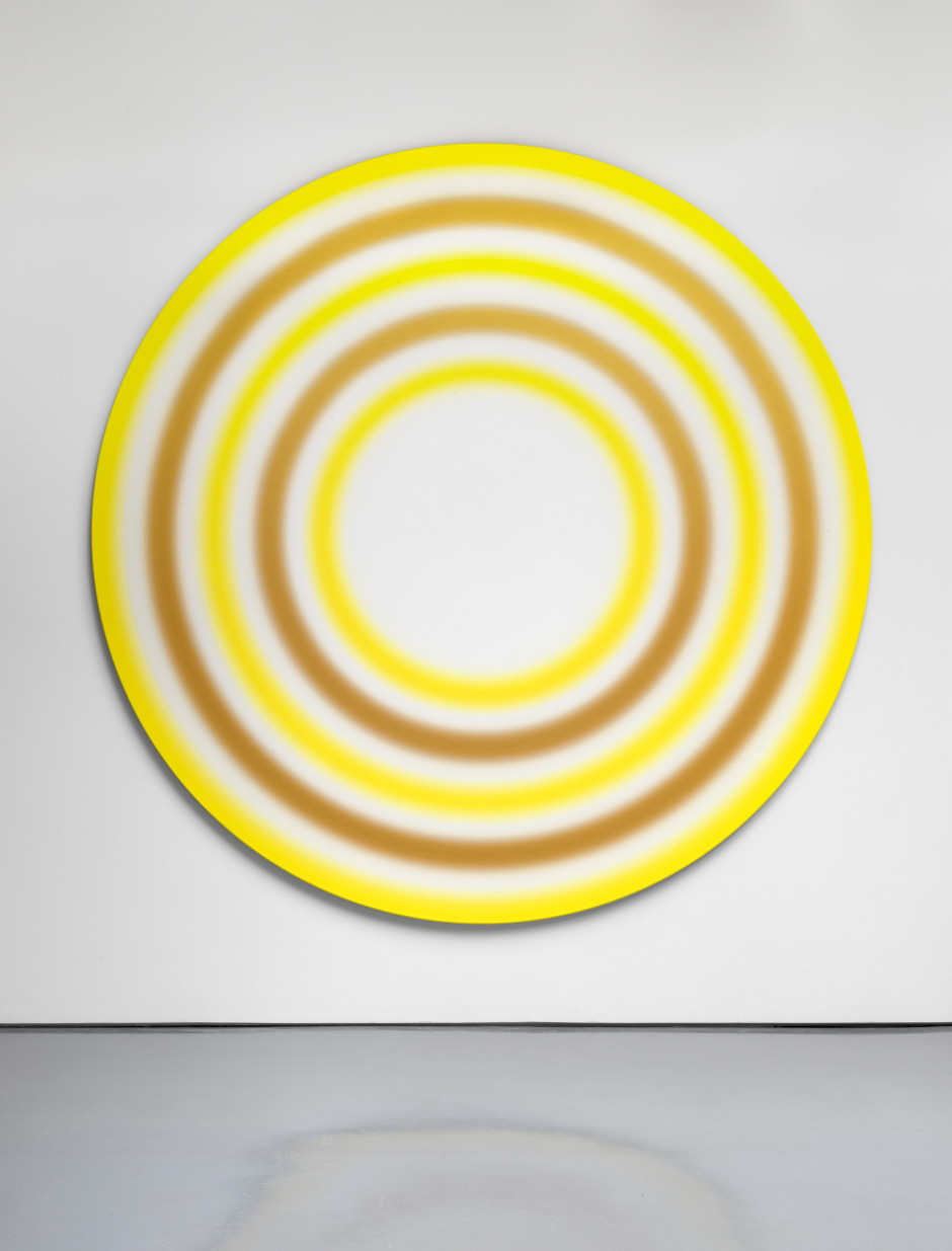 ACHTZEHNTERJULIZWEITAUSENDUNDZWÖLF, 2012  acrylic on canvas, plexiglass plaque with caption  diam: 270 cm / 106 ¼ in depth: 3.2 cm / 1 ¼ in