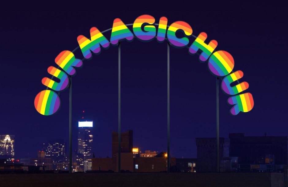 Our Magic Hour , 2003  neon, acrylic glass, translucent foil, aluminium  495.0 x 1081.0 x 15.0 cm 194 7/8 x 425 9/16 x 5 7/8 in.