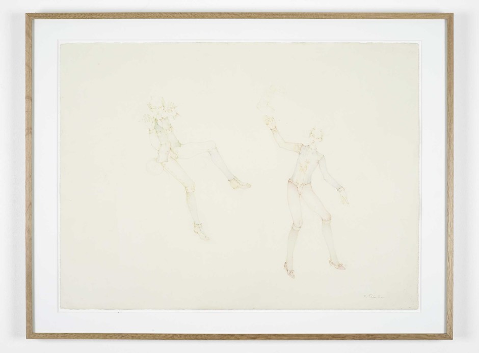 Flutist and Dancing Figure, 2010  signed bottom right  colour pencil on paper  56.5 x 76.0 cm 22 1/4 x 29 7/8 in.