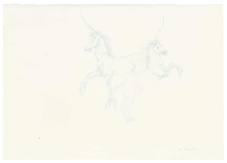 Sky Blue Licorne Horses, 2014  Signed on front  colour pencil on paper  33.6 x 42.2 x 3.8 cm 13 3/16 x 16 9/16 x 1 7/16 in.