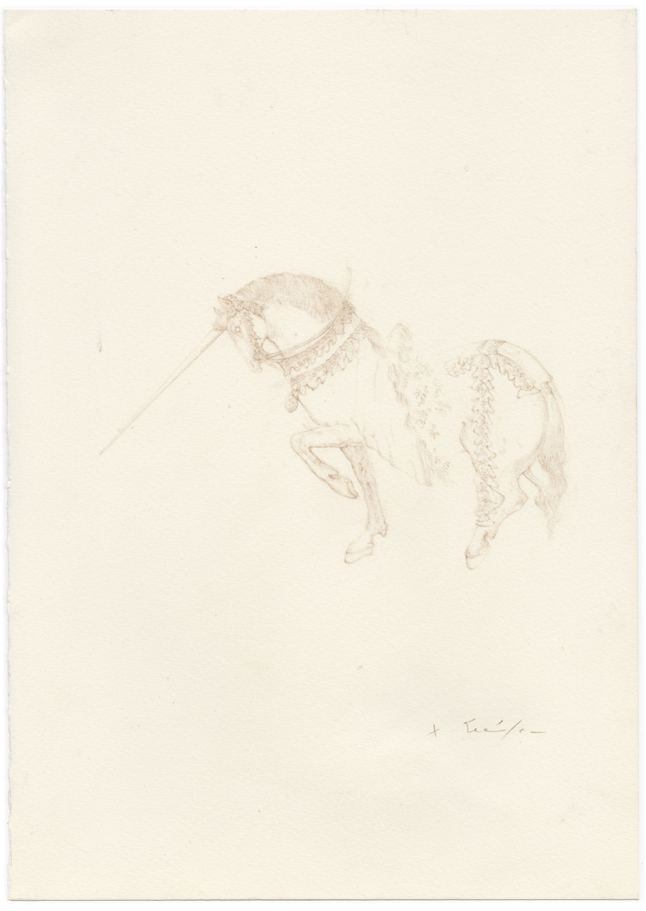 Licorne (TBD), 2017  signed  coloured pencil on paper  29.6 x 20.9 cm 11 5/8 x 8 1/8 in.
