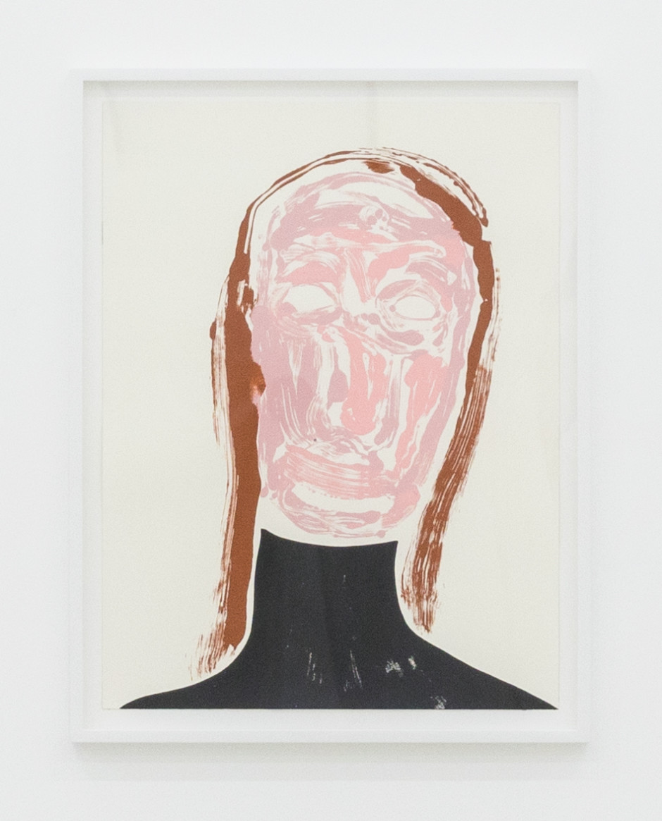 Self-Portrait: Tired (black turtle neck), 2017  acrylic on paper  site size: 60.9 x 45.9 cm / 24 x 18 1/8 in frame size: 67.6 x 52.3 x 3.8 cm / 26 5/8 x 20 5/8 x 1 1/2 in