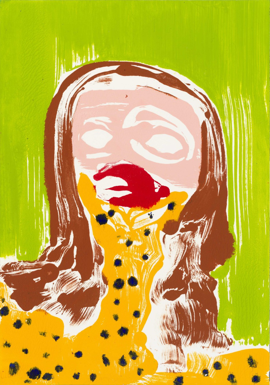 Self-Portrait: Worried, 2016  Acrylic on paper  site size: 26.1 x 18.1 cm / 10 1/4 x 7 1/8 in frame size: 32 x 24.5 x 3.8 cm / 12 5/8 x 9 5/8 x 1 1/2 in