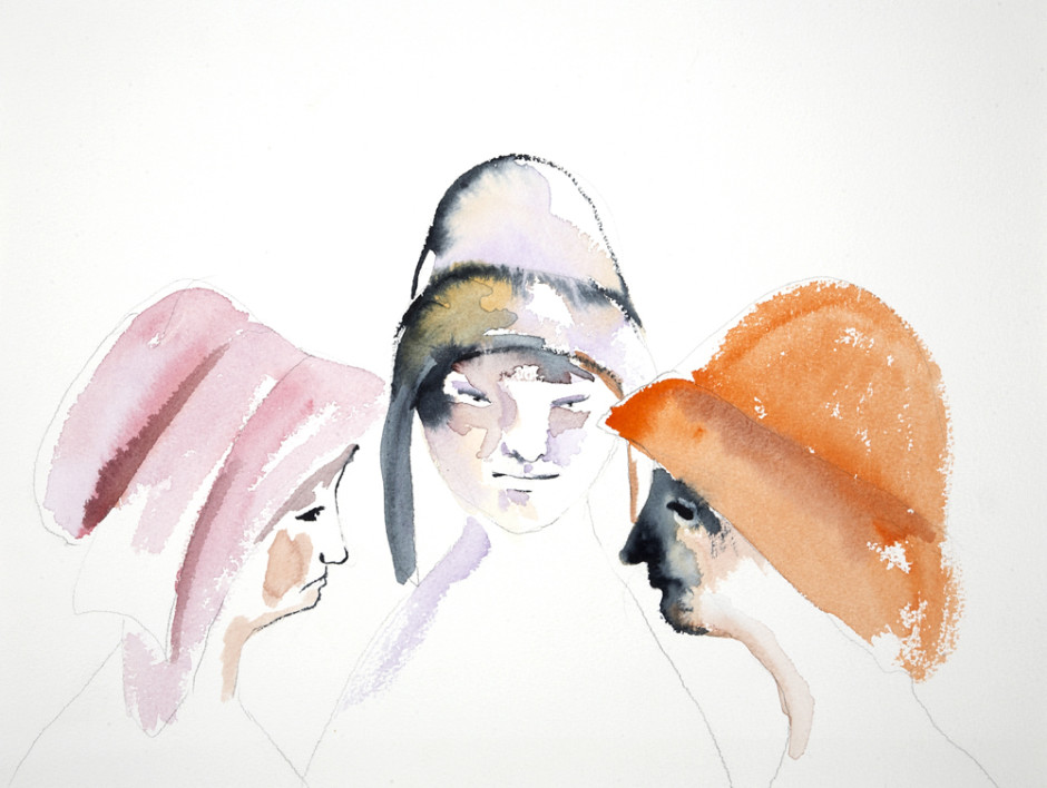 Three Women, 2008/2016  watercolor on paper  31.0 x 41.0 cm 12 1/8 x 16 1/8 in.