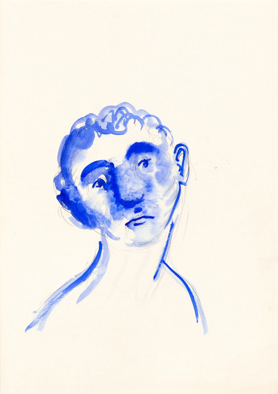 Blueface, 2001  watercolour and pencil on paper  site size: 30 x 21 cm / 11 ¾ x 8 ¼ in frame size: 49 x 40.5 x 2.5 cm / 19 ¼ x 16 x 1 in