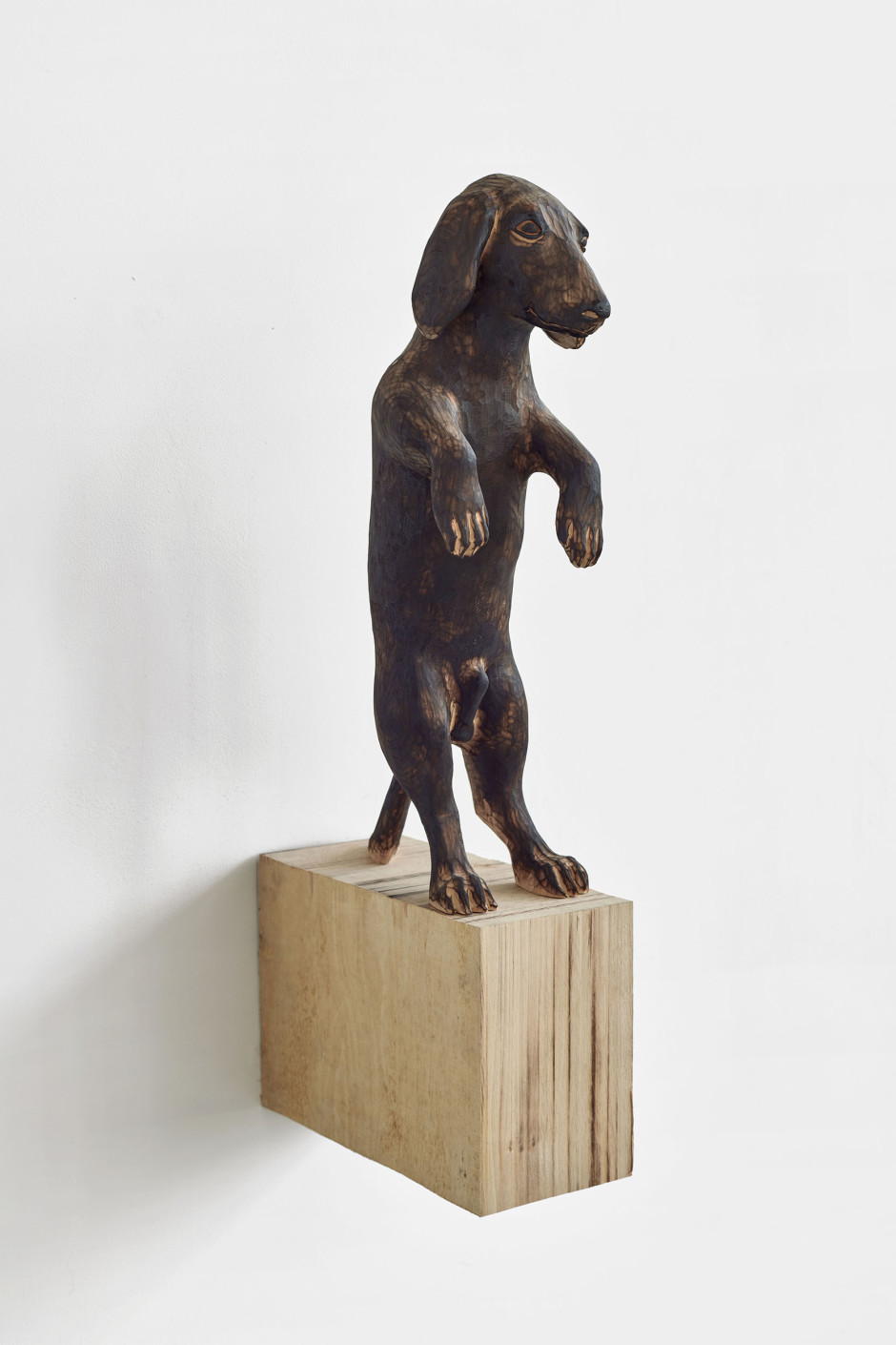Ponti (dog, standing), 2018  burned lime wood  figure: 52 x 15.5 x 24 cm / 20 ½ x 6 ⅛ x 9 ½ in overall: 74 x 14 x 36.5 cm / 29 ⅛ x 5 ½ x 14 ⅜ in