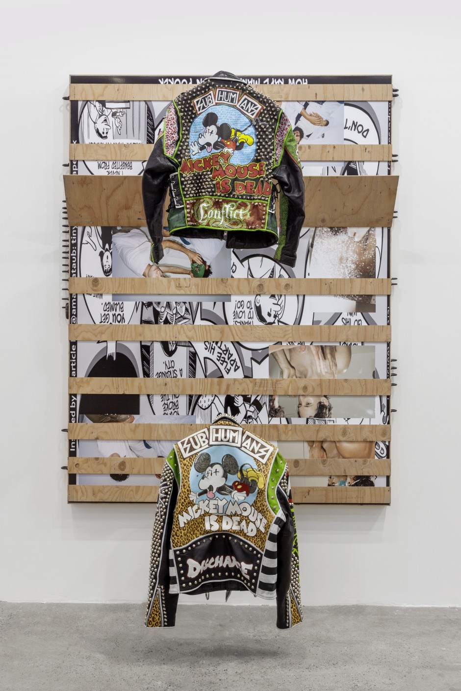 Untitled, 2017  Birch plywood, inkjet print mounted on dibond, aluminum, black oxide U-bolts, leather jackets  With Jacket Hangers: 202.6 x 161.3 x 70.5 cm 79 3/4 x 63 1/2 x 27 3/4 in.  Without Jacket Hangers:  202.6 x 161.3 x 26.7 cm 79 3/4 x 63 1/2 x 10 1/2 in.