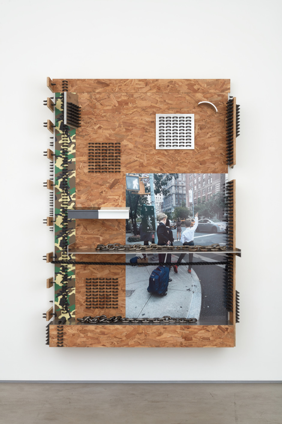 """Untitled, 2018  aluminium alloy 6061, CNC milled oriented strand board, inkjet printed paper on aluminium substrate, 5/8"""" steel chain, black oxide U-bolts, screen printed birch plywood  222.9 x 166.1 x 60.1  87 ¾ x 65 ⅜ x 24 ¼ in."""