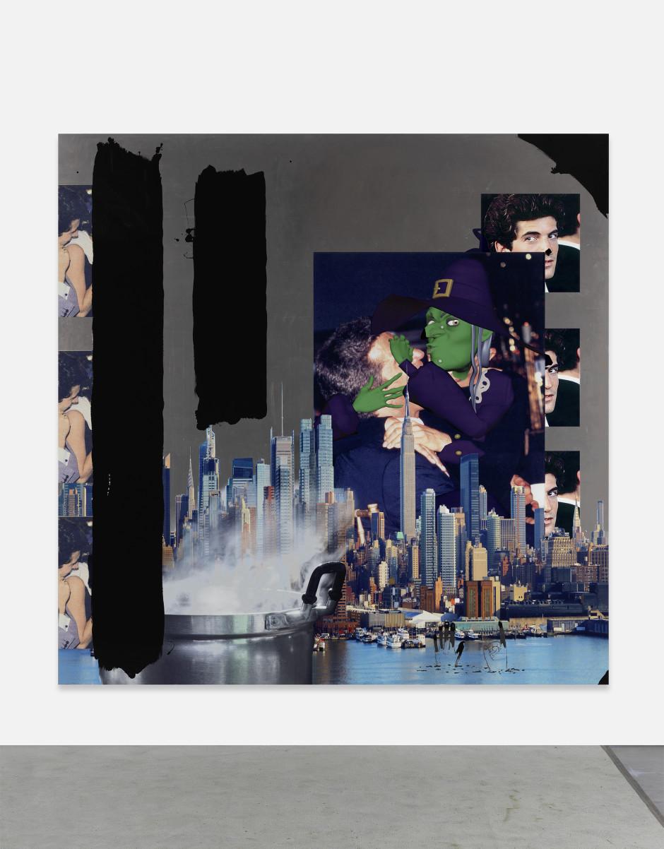 "Untitled, 2018 aluminum panel, 1/2"" hot rolled steel cleats, UV printed inks, gloss varnish, oil based gloss black enamel, black marker 213.4 x 213.4 x 2.2 cm / 84 x 84 x ⅞ in"