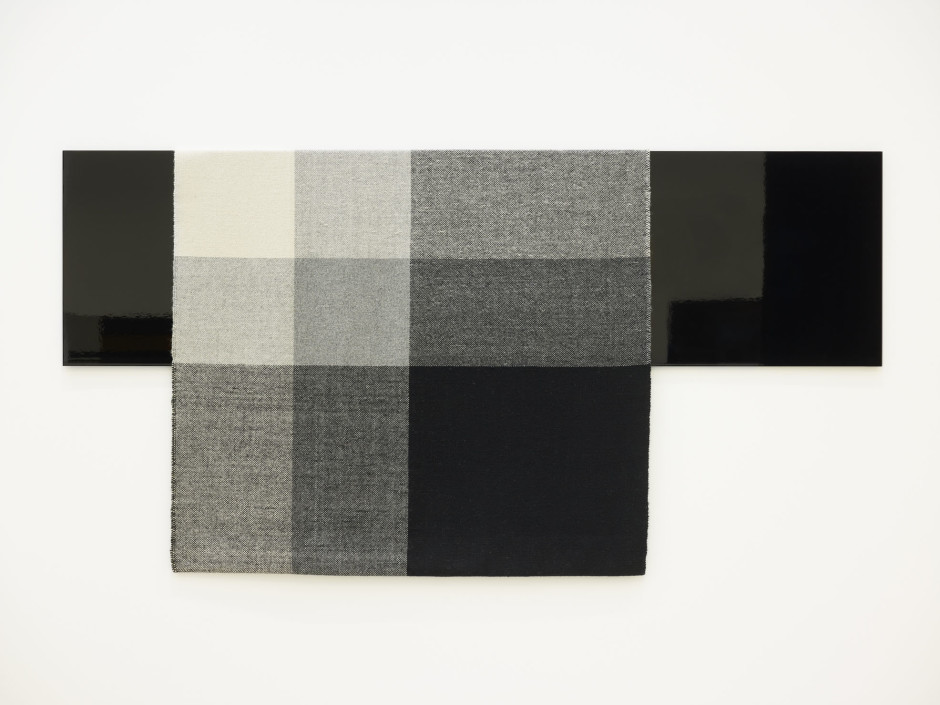 Parallel Planar Panel (black, dark grey, light grey, off-white), 2014  painted aluminium and woven textile  127 x 222.3 x 3.8 cm  50 x 87 ½ x 1 ½ in.