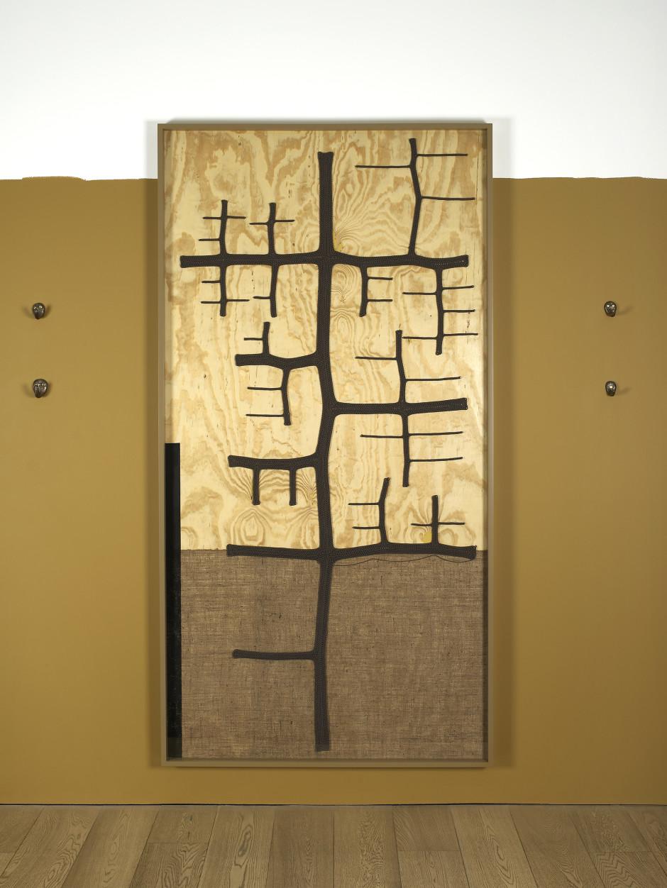 Material Manifestation: Single Strand Forward Motion, 2010  fir plywood, cotton yarn, flashe, burlap, urethane  124.5 x 246.4 x 0.9 cm  49 x 97 x ⅜ in.