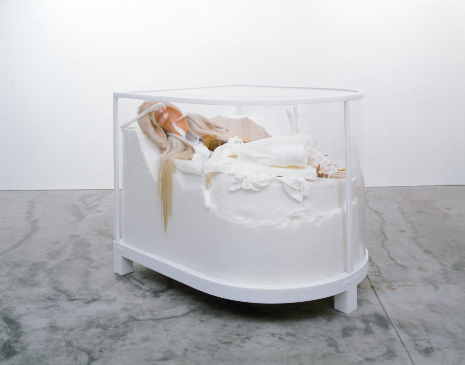 The Cabinet of the Occidental Guest (bride), 2006  Cast polycaprolactone thermoplastic, self-lubricating plastic, cow hide, elk hide, deer hide, fox fur, horse hair, sea shell, bone, raw hide, antler and flensing knife in acrylic vitrine  138.4 x 137.5 x 168.9 cm 54 1/2 x 54 1/8 x 66 1/2 in.