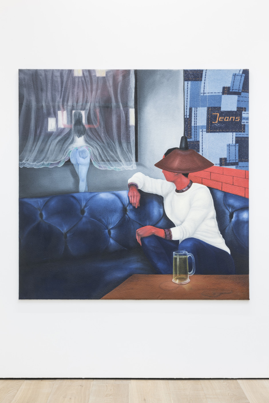 Don't open up the window and let out the antidote, 2017  oil on cotton  160 x 160 cm / 63 x 63 in.  Photo Credit: The Theatre of the Self, Uziyel London Home Gallery, ARTUNER