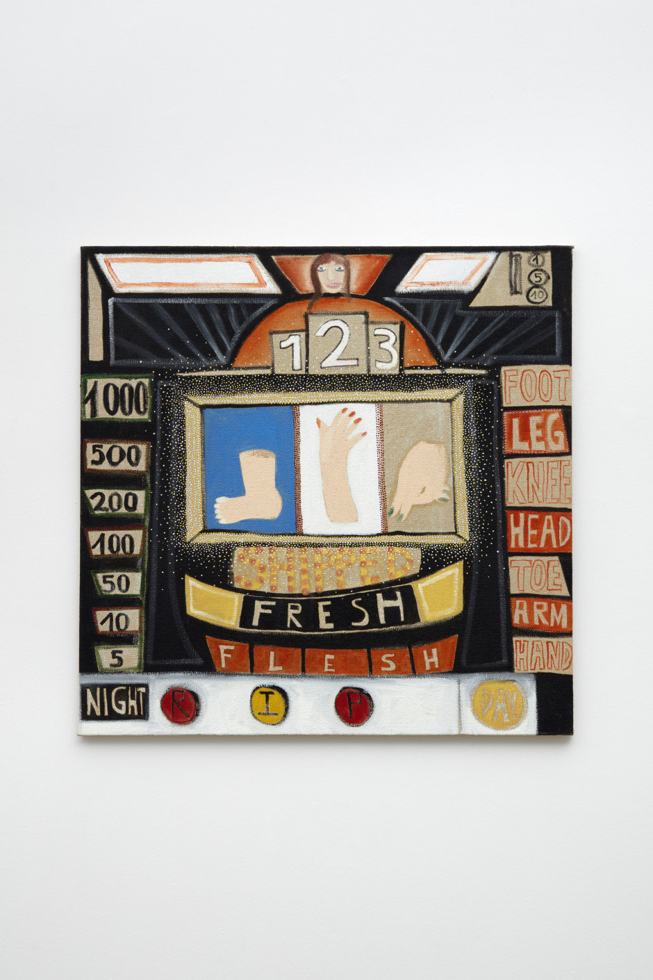 The Slotmachine, 2014  oil on hessian  81 x 81.2 x 2.5 cm /31 7/8 x 32 x 1 in.