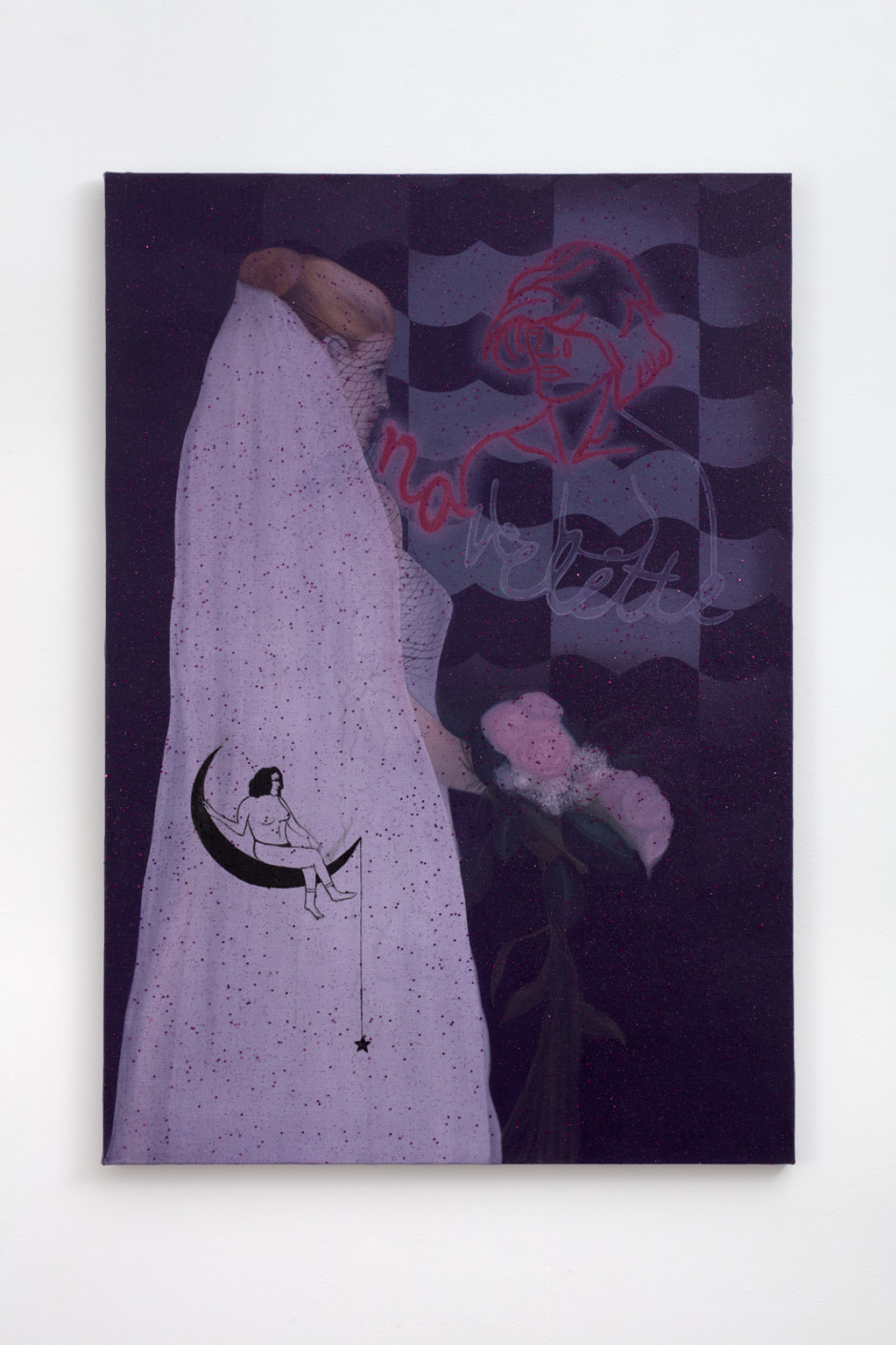Novelette: a short novel that is often about romantic relationships and is usually not very serious, 2018  oil on hessian with textile  132.2 x 91.6 x 2.1 cm / 52 ⅛ x 36 ⅛ x ⅞ in  Photo: Robert Glowacki
