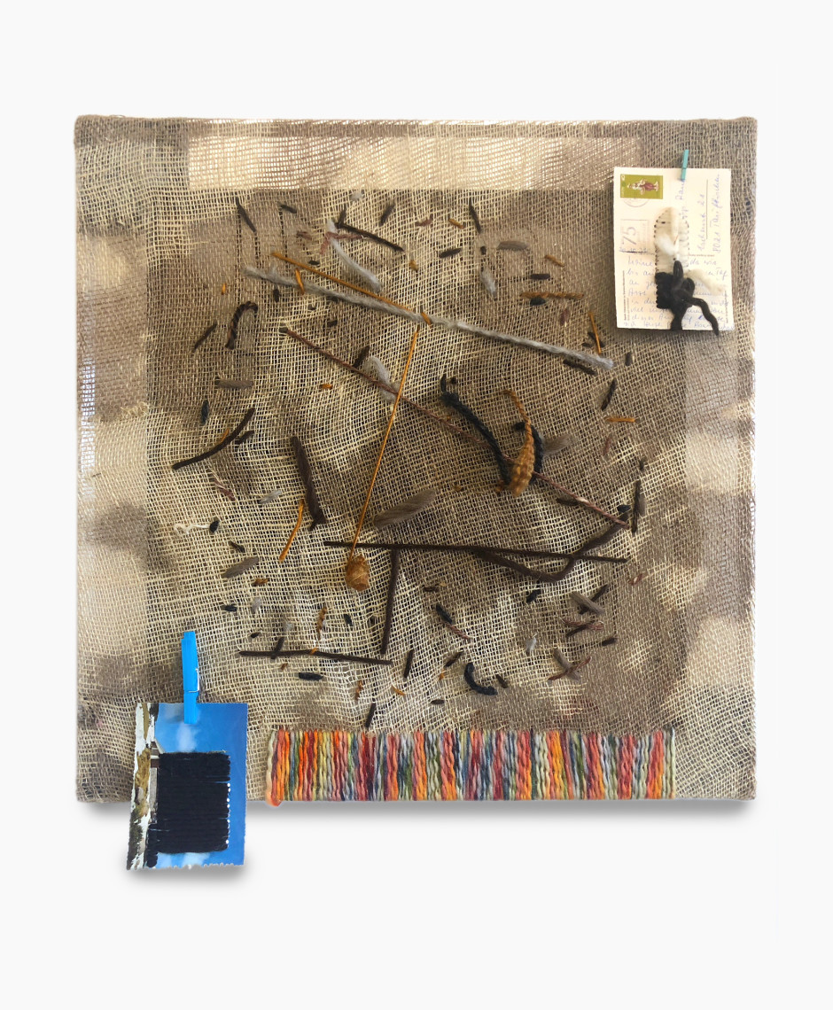 Been around the world -2 , 2018  signed and dated on verso  postcards, burlap, clothes pins, yarn  65.5 x 62.5 x 7 cm / 25 ¾ x 24 ⅝ x 2 ¾ in
