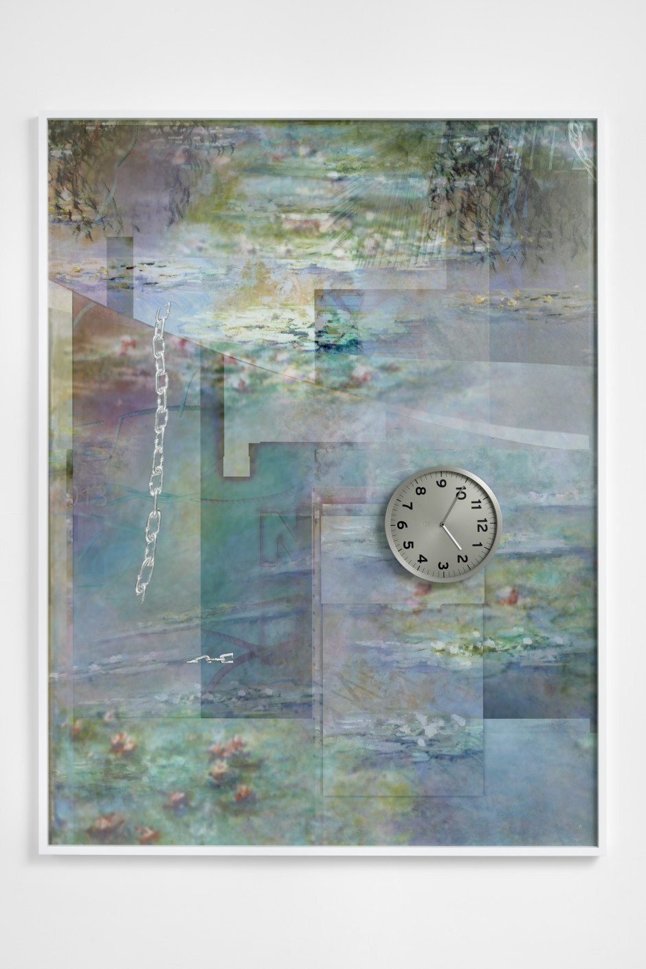 Nymphaea careulea, 2018  archival pigment print, clocks  205 x 156 x 5.7 cm / 80 ¾ x 61 ⅜ x 2 ¼ in