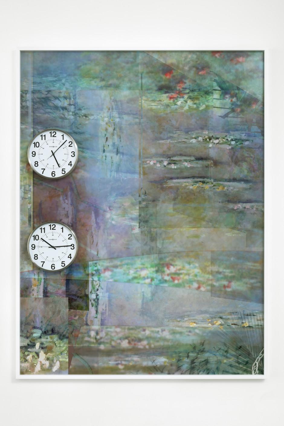 Nymphaea violacea, 2018  archival pigment print, clocks  205 x 156 x 5.7 cm / 80 ¾ x 61 ⅜ x 2 ¼ in
