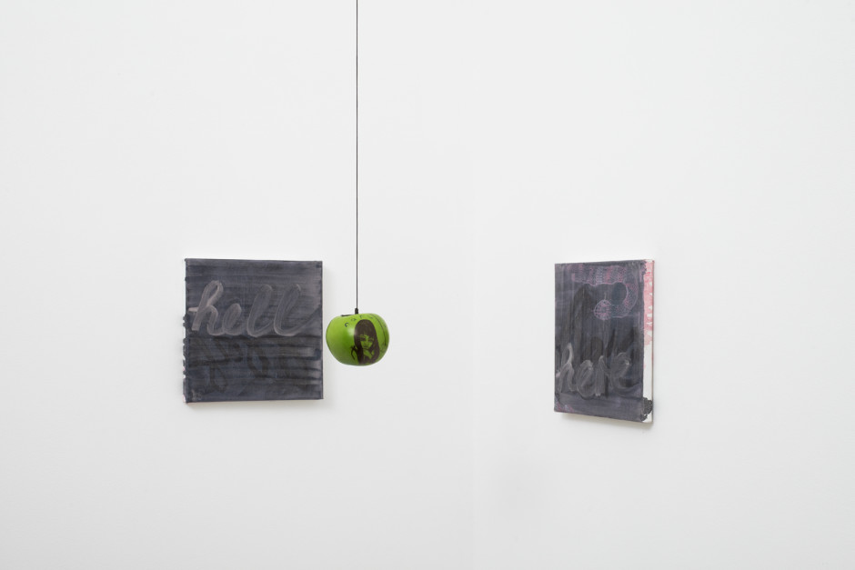 Hell here, 2018  oil and acrylic on canvas, apple and string  2 parts, each 20.3 x 20.3 x 1.5 cm / 8 x 8 x ⅝ in installation dimensions variable  Photo by Robert Glowacki
