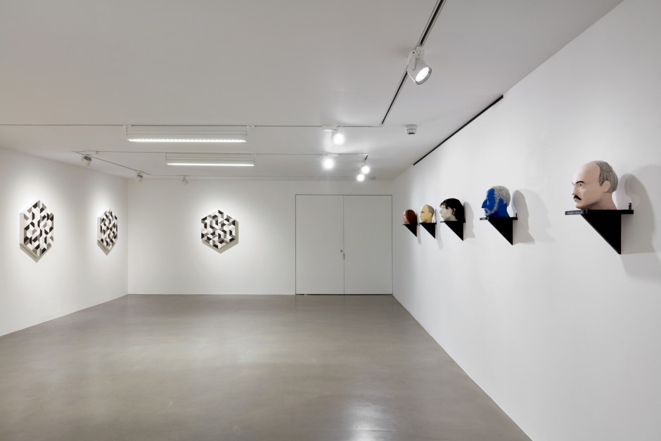 Installation view, dépendance, Christian Flamm, Jos de Gruyter & Harald Thys, 1 Davies Street, 2020  Photo by Robert Glowacki