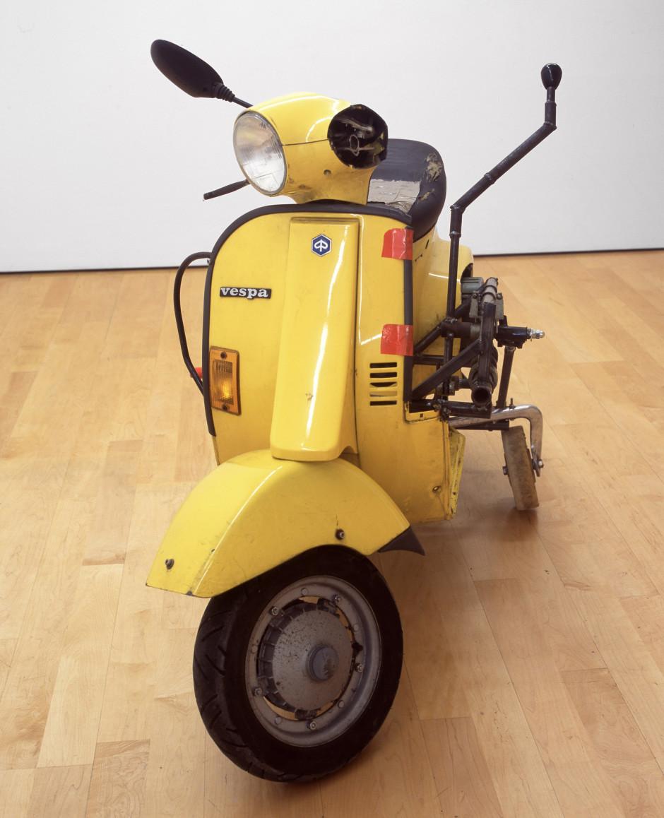 Home Vespa, 2007  yellow vespa, welded steel, wind-up alarm  114.3 x 94.0 x 171.5 cm 45 x 37 x 67 1/2 in.