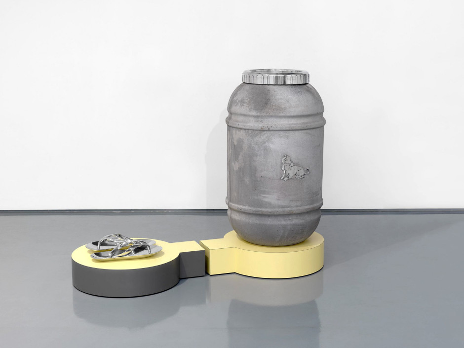 eritas (like a dog around the feet), 2012  aluminium, laminated wood, cuttlefish ink  145.0 x 116.5 x 60.0 cm 57 1/8 x 45 7/8 x 23 5/8 in.