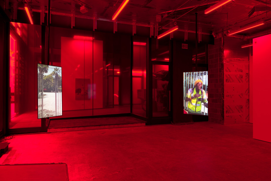 Ugly Plymouths, 2020, 3 channel video  Installation view, Ugly Plymouths, 6 - 31 October 2020, Sadie Coles HQ off-site, 24 Cork Street W1  Photo: Robert Glowacki