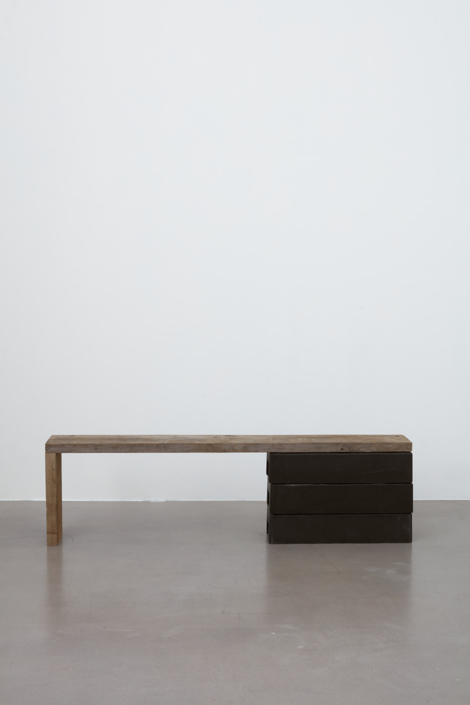 Untitled (bench) , 2020  rubber, wood  48.5 x 171 x 24.5 cm / 19 ⅛ x 67 ⅜ x 9 ⅝ in