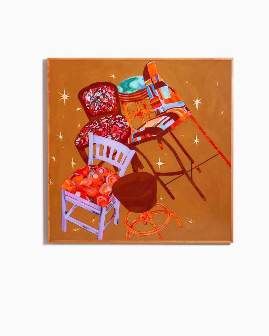 Ms. Barstool or: Teenage Alcoholics or ..., 2020  Plexiglass, Flashe paint, sequin pins, foam, velvet, hardware, wood frame  186 x 186 x 7.5 cm / 73 ¼ x 73 ¼ x 3 in