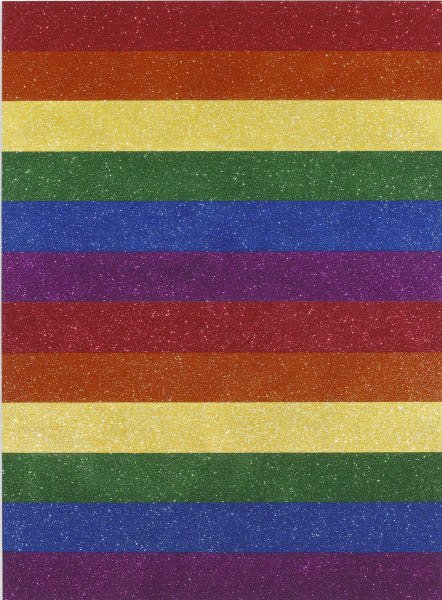 Jonathan Horowitz  Double Rainbow Flag for Jasper in the Style of the Artists Boyfriend, 2013  glitter and enamel on canvas  249.6 x 183.5 cm / 98 ¼ x 72 ¼ in