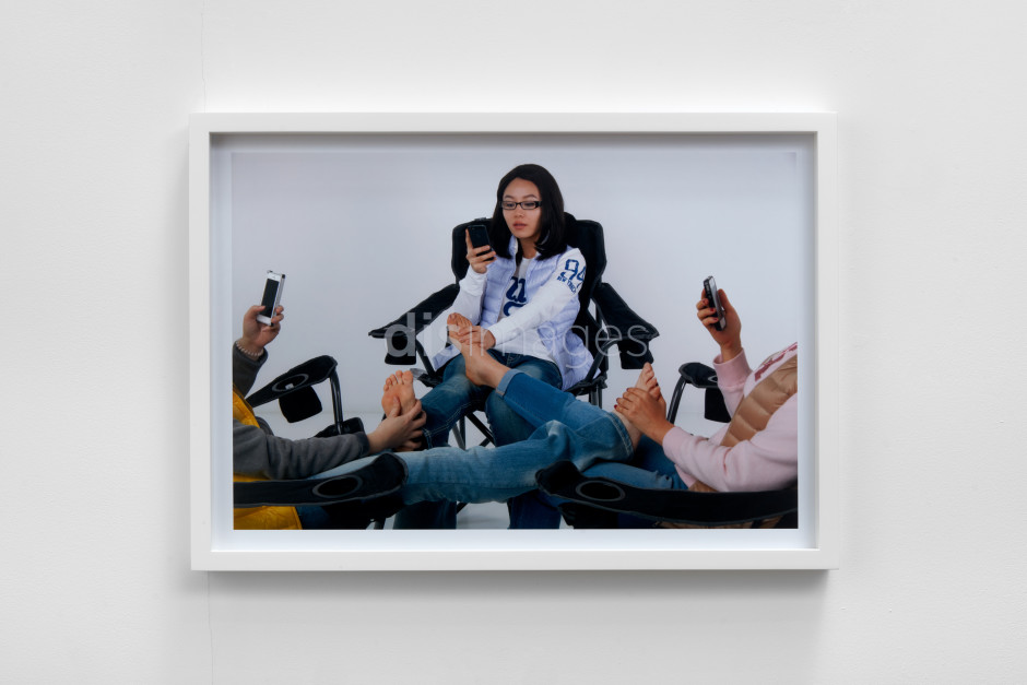 DIS  DISImages The New Wholesome (Tags: Old Navy, Group Massage, Campers, Texting), 2013  C-type print  framed 50.8 x 71.1 x 4.1 cm / 20 x 28 x 1 ⅝ in
