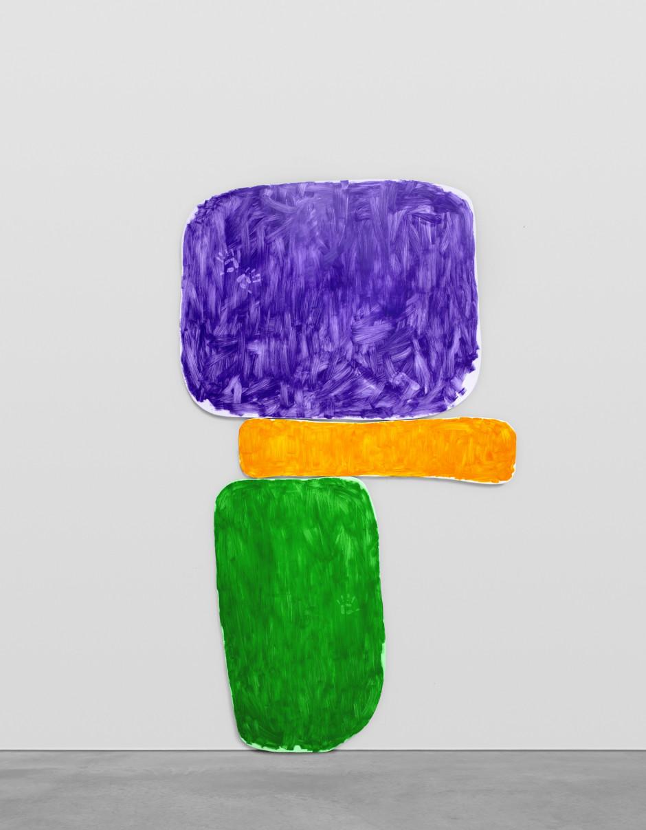 zweiundzwanzigsterdezemberzweitausendundzwanzig, 2020  oil on canvas, Perspex plaque  overall: 453.1 x 258.1 x 5.1 cm / 178 3/8 x 101 5/8 x 2 in top canvas: 176 x 227 x 5cm center canvas: 52 x 214 x 5cm bottom canvas: 235.5 x 133 x 5cm