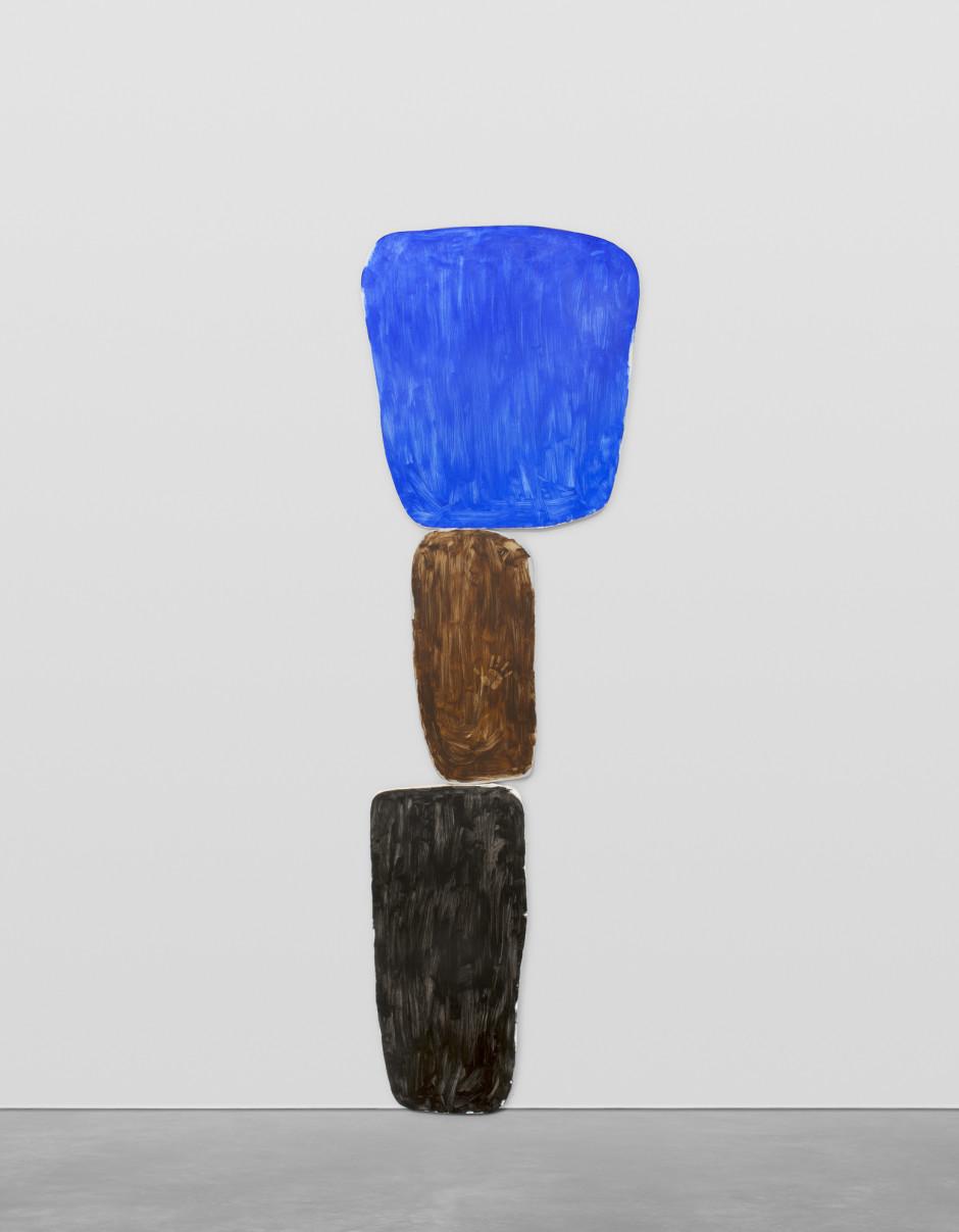 vierterjanuarzweitausendundeinundzwanzig, 2021  oil on canvas, Perspex plaque  overall: 478 x 148.1 x 5.1 cm / 188 ¼ x 58 ¼ x 2 in top canvas: 155 x 144 x 5 cm center canvas: 137.5 x 65 x 5 cm bottom canvas: 193 x 85.5 x 5 cm