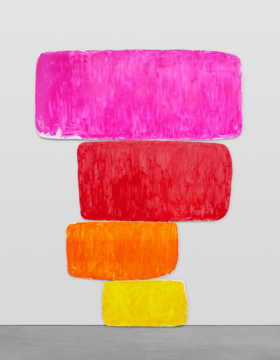 dreiundzwanzigsterjanuarzweitausendundeinundzwanzig, 2021  oil on canvas, Perspex plaque  overall: 528.3 x 386.1 x 5.1 cm / 208 x 152 x 2 in top canvas: 166 x 386 x 5 cm 3rd canvas: 153 x 293 x 5 cm 2nd canvas: 117 x 215.5 x 5 cm