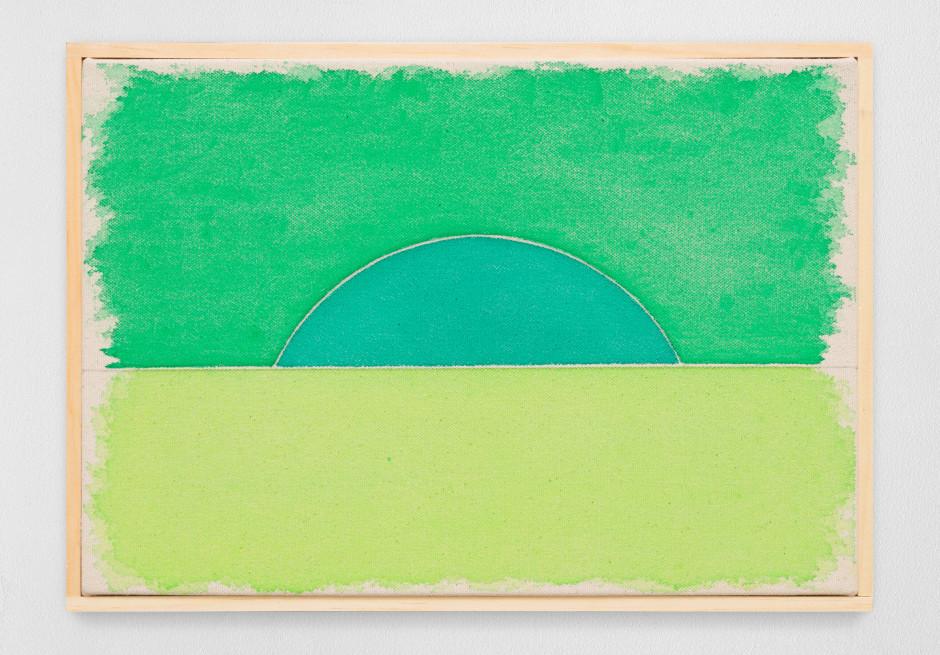 siebterjulizweitausendundzwanzig, 2020  watercolour on canvas, artist's frame  site size: 23 x 32.8 x 2.2 cm / 9 1/8 x 12 7/8 x 7/8 in frame size: 24.5 x 34.2 x 2.5 cm / 9 5/8 x 13 1/2 x 1 in