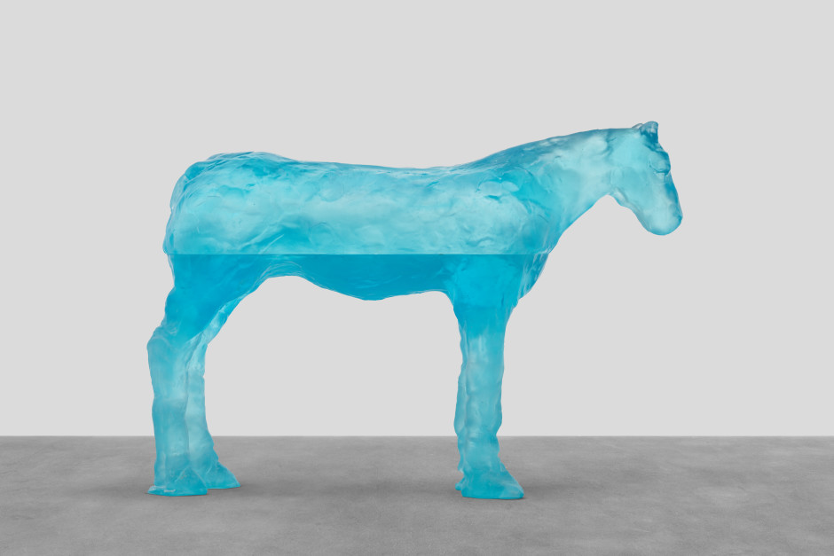 coral sea, 2021  blue glass  86.1 x 122.4 x 31 cm / 33 ⅞ x 48 ¼ x 12 ¼ in
