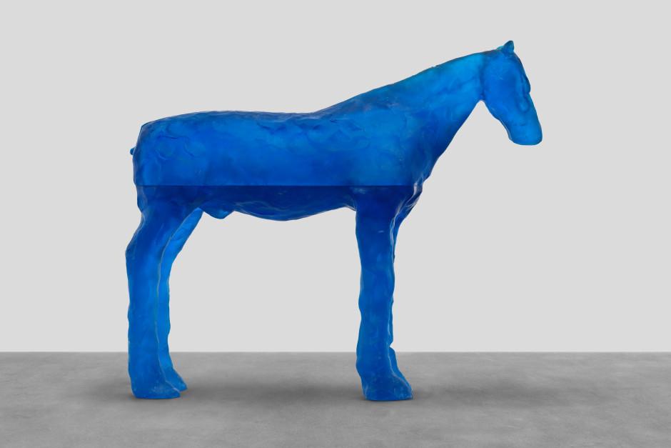 bering sea, 2021  blue glass  100.8 x 119.2 x 28.5 cm / 39 ¾ x 46 ⅞ x 11 ¼ in