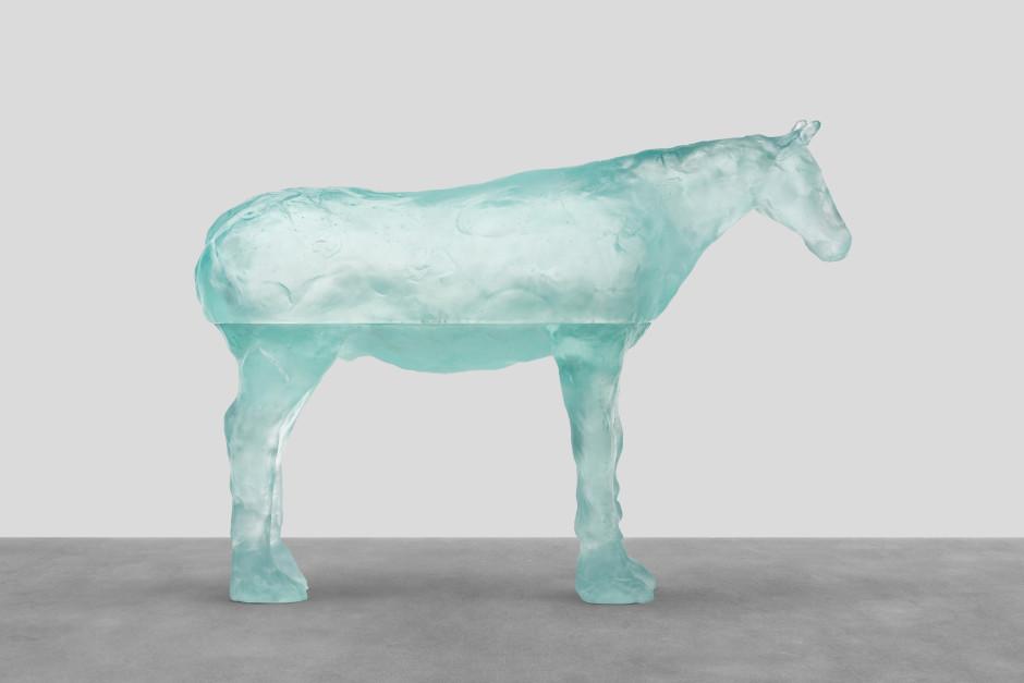 north sea, 2021  blue glass  90.5 x 126.3 x 30 cm / 35 ⅝ x 49 ¾ x 11 ¾ in