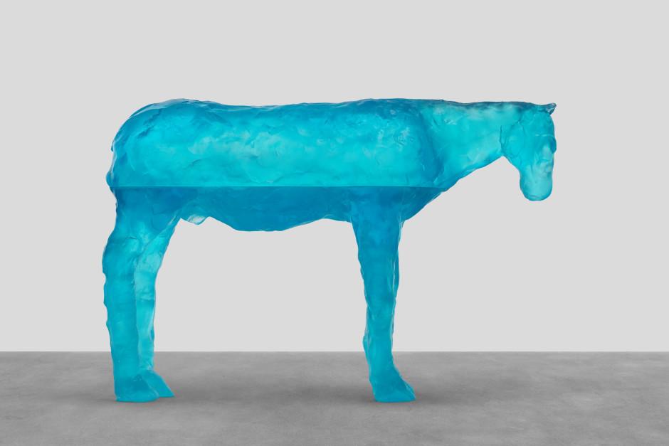 red sea, 2021  blue glass  79 x 119.7 x 30 cm / 31 ⅛ x 47 ⅛ x 11 ¾ in