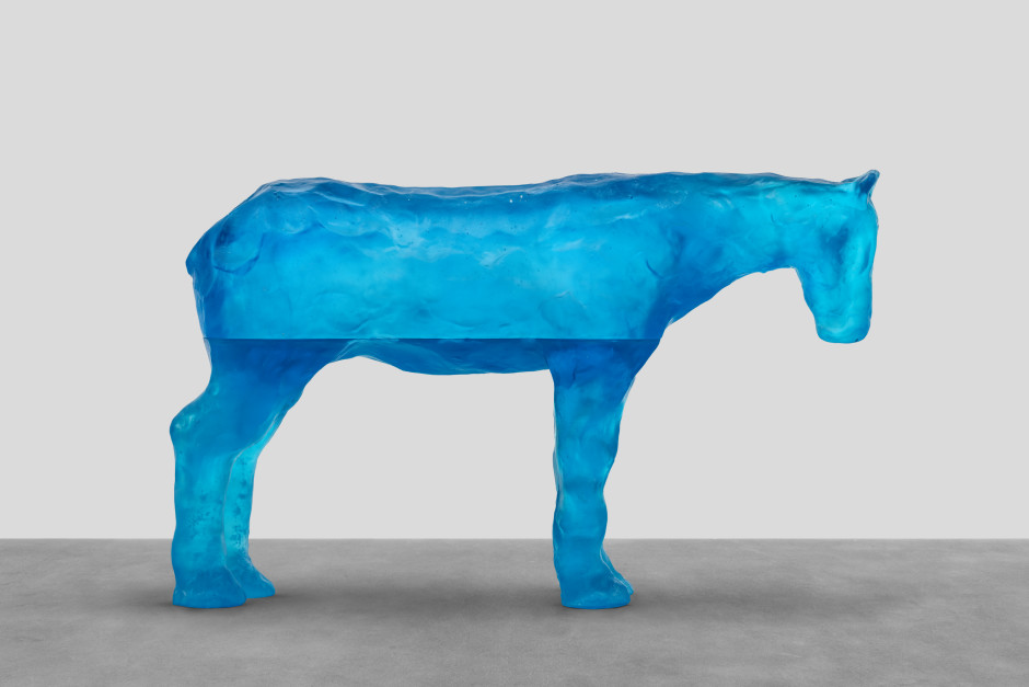 persian gulf sea, 2021  blue glass  77.3 x 128.7 x 30.6 cm / 30 ⅜ x 50 ⅝ x 12 ⅛ in