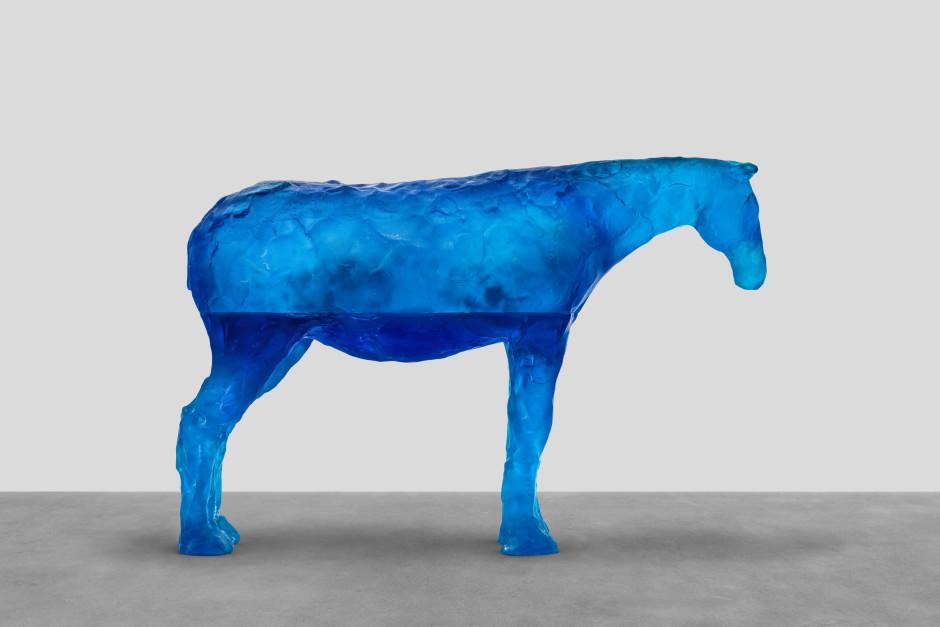 adriatic sea, 2021  blue glass  83.5 x 125.6 x 36.2 cm / 32 ⅞ x 49 ½ x 14 ¼ in
