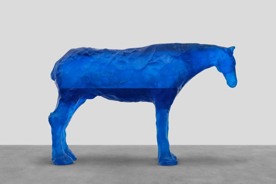 caribbean sea, 2021  blue glass  81.3 x 126.9 x 34.6 cm / 32 ⅛ x 50 x 13 ⅝ in