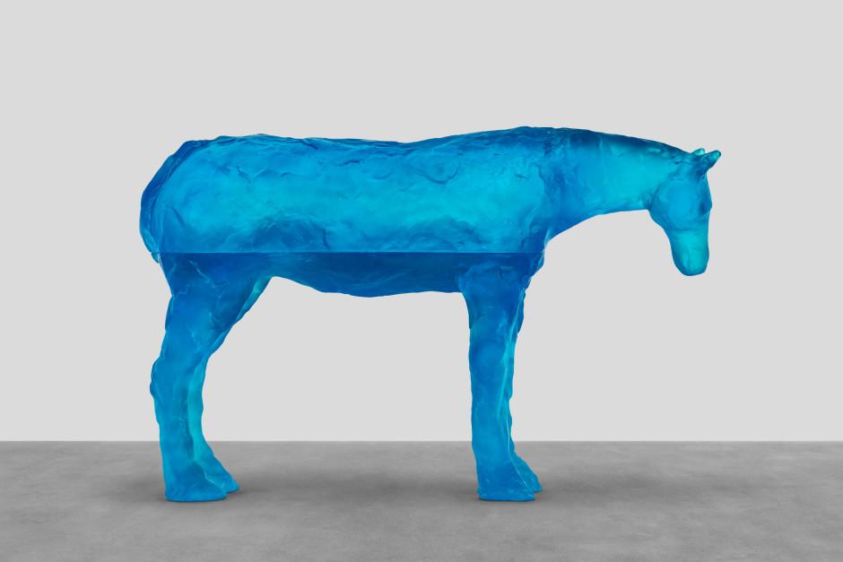 arabian sea, 2021  blue glass  80.2 x 126.5 x 30.4 cm / 31 ⅝ x 49 ¾ x 12 in