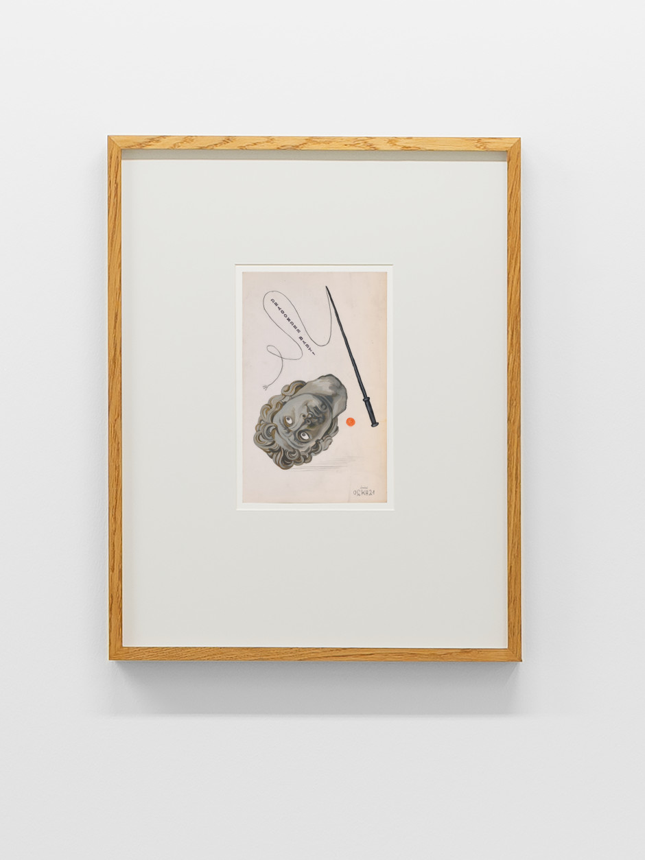 Alexander mit Peitsche, 2021  Signed and dated on front  gouache, pencil, typewriter on paper  site size: 19.8 x 12.5 cm / 7 ¾ x 4 ⅞ in frame size: 45.5 x 35.9 x 3.5 cm / 17 ⅞ x 14 ⅛ x 1 ⅜ in