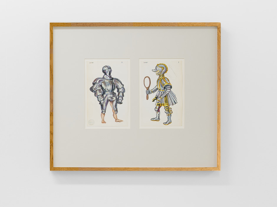 Look I & Look II, 2021  Signed and dated on front  gouache, pencil, typewriter on paper, 2 parts  each site size: 19.8 x 12.5 cm / 7 ¾ x 4 ⅞ in frame size: 45.5 x 52.4 x 3.5 cm / 17 ⅞ x 20 ⅝ x 1 ⅜ in